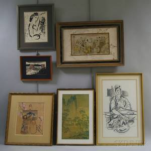 Six Works Marc Chagall FrenchRussian 18871985 In Front of the Picture