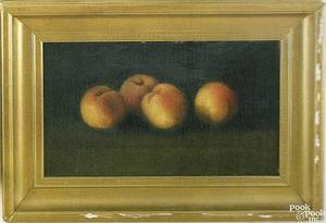R F Tilton American 19th c oil on canvas still life of peaches 8 x 13 34