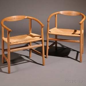 Two Danish Modern Oak Armchairs