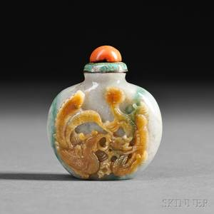 Jade Snuff Bottle with Phoenix and Dragon