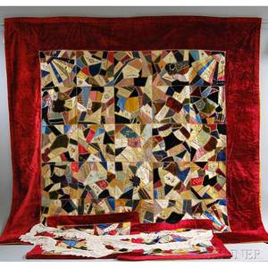 Victorian Crazy Quilt Two Pillow Shams and a Lace Border