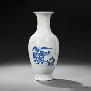 Molded Blue and White Porcelain Vase with Landscapes