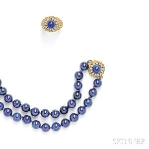 Suite of 18kt Gold Lapis and Diamond Jewelry Items