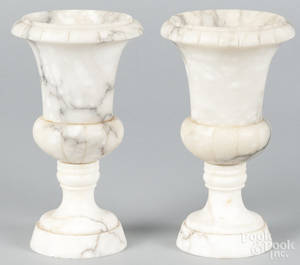 Pair of Italian alabaster urns