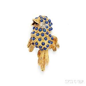 18kt Gold Lapis and Diamond Bird Brooch