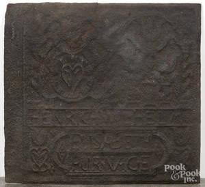 Henrich Wilhelm Elizabeth Furnace cast iron stove plate
