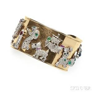 Art Deco Platinum Diamond and Gemstone Charmmounted Cuff