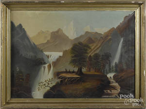 American oil on canvas western landscape
