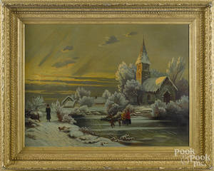American oil on canvas winter landscape