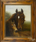 American oil on canvas of a horse and foal