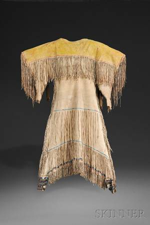 Southern Cheyenne Beaded and Fringed Hide Womans Dress