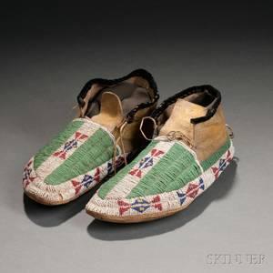 Pair of Lakota Beaded Hide Moccasins