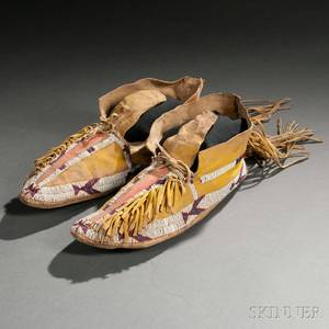 Pair of Southern Cheyenne Beaded Hide Moccasins