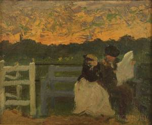AngloAmerican School 19th Century Oil Sketch of a Couple Seated Outdoors Reading the Newspaper