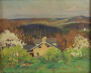 American School 20th Century Spring Landscape with House