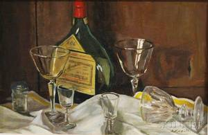 Arnold Whitman Knauth II American b 1918 Tabletop Still Life with Cognac Bottle and Glasses