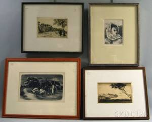 Four Framed Prints Alexander Brook American 18981980 Girl with Scarf