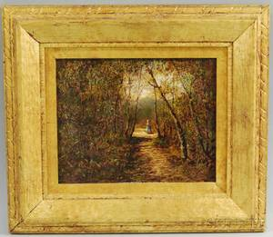 Continental School 19th20th Century Barbizonstyle View of a Figure on a Wooded Path