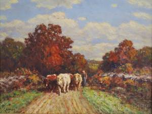 George Arthur Hays American 18541945 Farmer with Cows on a Path