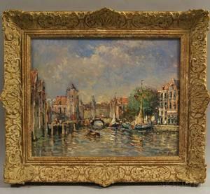 Niek van der Plas Dutch b 1954 Sunlight Along a European Canal