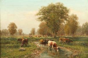 George Arthur Hays American 18541945 Summer Pasture with Watering Cows