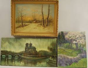 Three Works American School 20th Century The Stone Wall
