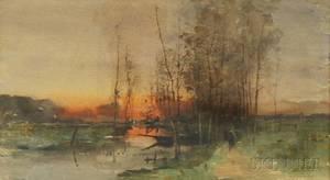 Henri Stacquet Belgian 18381906 Sunset Landscape