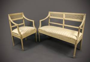 Louis XVI Style Cream Painted Chair  Settee