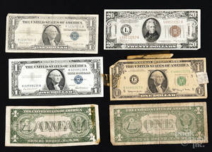 Six pieces of American paper currency