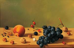 Fernand Renard French b 1912 Still Life with Fruit on a Shelf