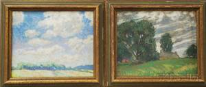Albert Van Nesse Greene American 18871971 Two Landscapes Field with House and Trees