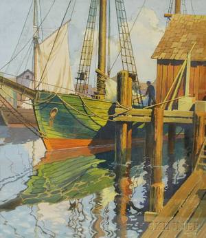 James B Settles American 20th Century Schooner at Dock