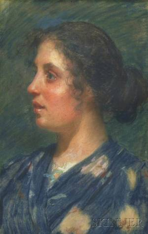 Attributed to Stefano Novo Italian 18621927 Portrait of a Young Woman in Profile