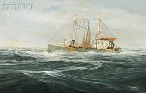 Warren Boucher American 19221999 Fishing Vessel Hauling Nets