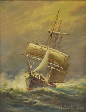 T Bailey American 19th20th Century Portrait of a Sailing Ship in Stormy Seas