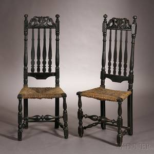 Pair of Carved Blackpainted Banisterback Side Chairs