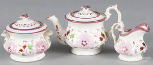 Childs threepiece pink lustre tea service