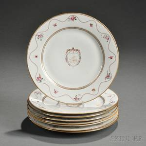Set of Eight Chinese Export Armorial Dinner Plates