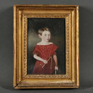 AngloAmerican School 19th Century Small Portrait of a Boy in a Red Dress Holding a Riding Crop