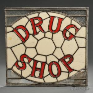 Stained and Leaded Glass DRUG SHOP Sign