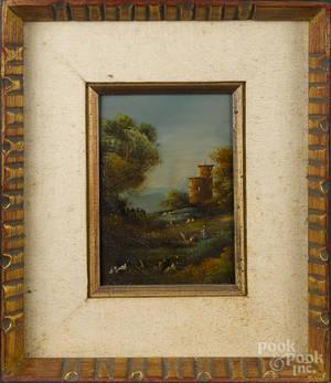Pair of oil on board primitive landscapes
