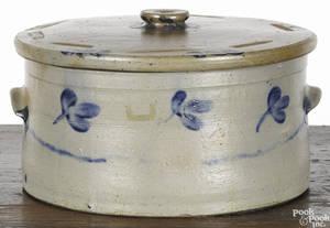 Large Pennsylvania stoneware lidded cake crock 19th c