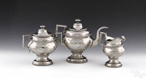 New York threepiece coin silver tea service ca 1820