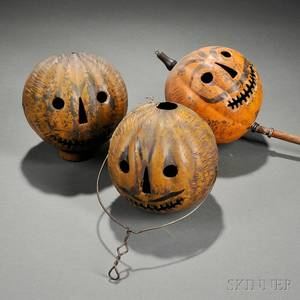 Three Painted Tin JackoLantern Parade Lanterns