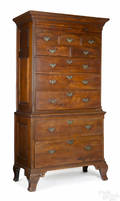 Important Chester County Pennsylvania Queen Anne walnut Octorara chest on chest ca 1760