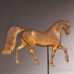 Gilt Cast and Sheet Iron Horse Weathervane