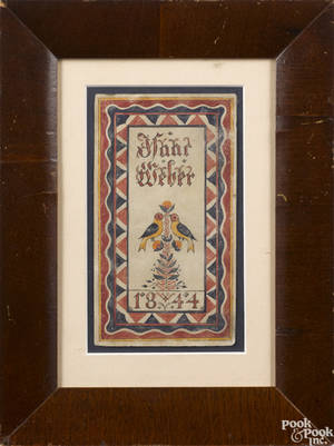 Southeastern Pennsylvania watercolor fraktur bookplate dated