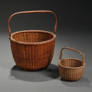 Two Round Swinghandled Nantucket Baskets