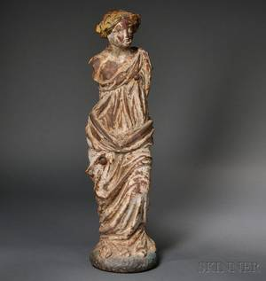 Painted Cast Iron Figure of a Classical Female Figure