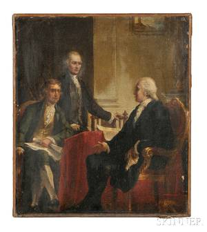 Constantino Brumidi ItalianAmerican 18051880 Study for George Washington with Jefferson and Hamilton